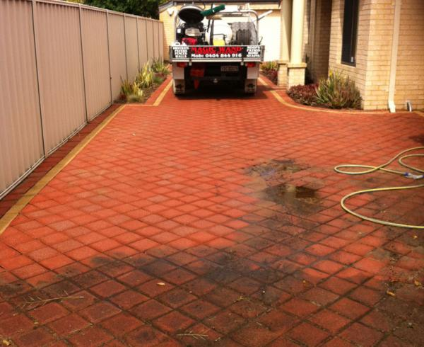 High pressure cleaning of driveways