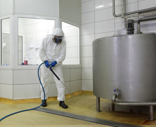 Industrial and factory cleaning of equipment and machinery